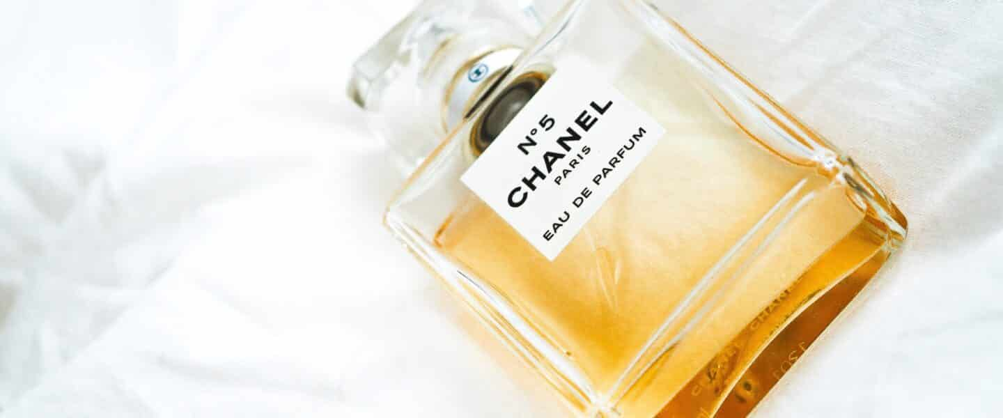 N5 Chanel bottle on white surface