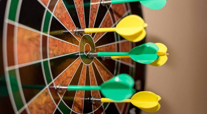 green, red, and yellow dartboard