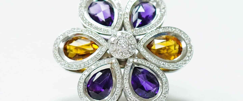 silver and purple star accessory