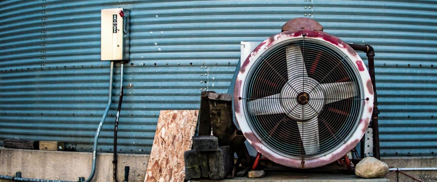 white and red centrifugal fan